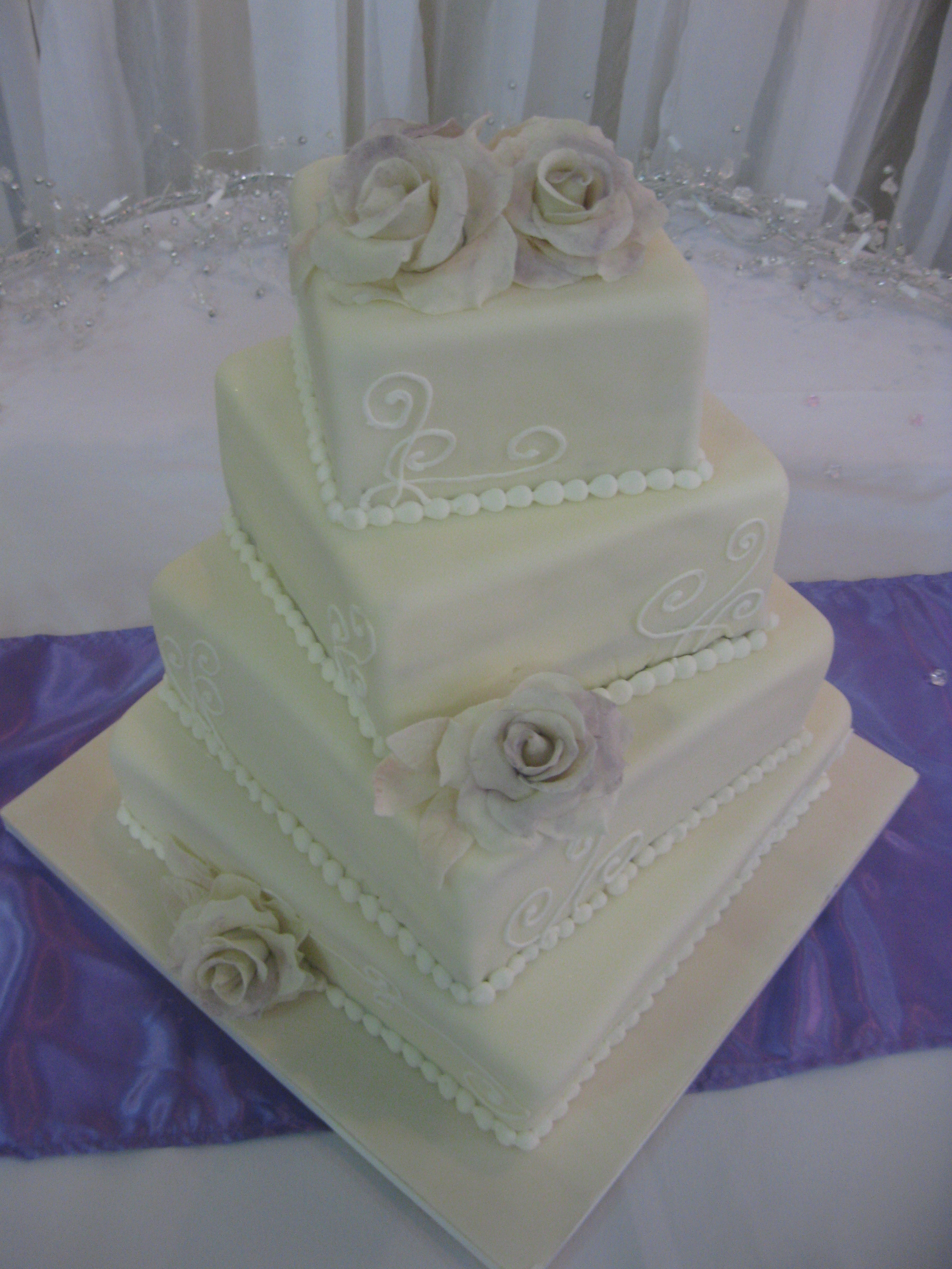 Gallery For Simple Square 3 Tier Wedding Cake